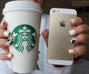 starbucks, iphone, and nails image