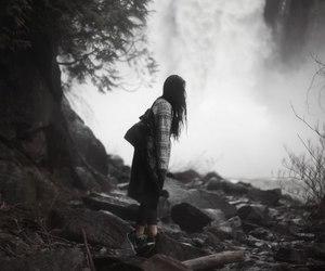 girl, nature, and waterfall image