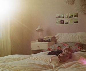 bedroom, floral, and girly image