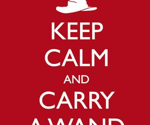 keep calm, harry potter, and wand image