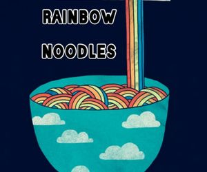 noodles, rainbow, and clouds image