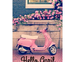 april, flowers, and motorbike image