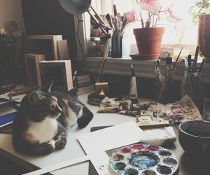 cat, art, and paint image