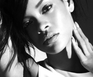 black & white, black and white, and rihanna image