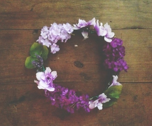 flowers, purple, and crown image