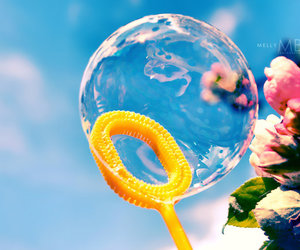 bubbles, flowers, and summer image