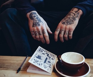 tattoo, hands, and coffee image