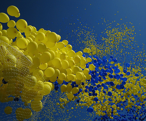 blue, yellow, and balloons image