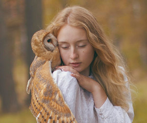owl, girl, and nature image