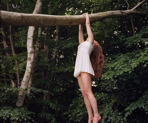 girl, nature, and tree image