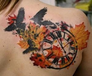 tattoo, bird, and clock image