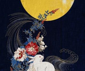 fabric, bunny, and indigo image