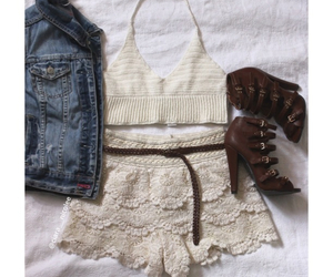 heels, lace, and ootd image