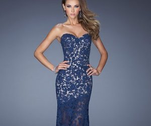 navy, elegant prom gown, and lace prom gown image