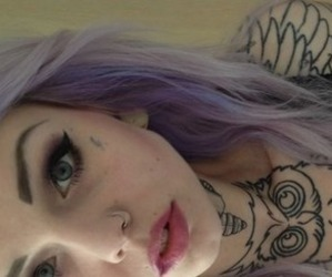 tattoo, hair, and piercing image