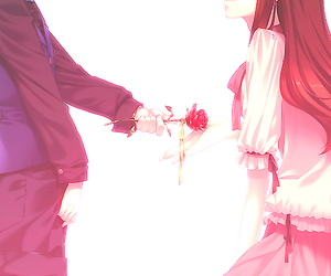 anime, rose, and couple image