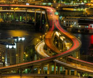 city, freeway, and long exposure image