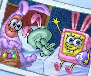 spongebob, easter, and patrick image