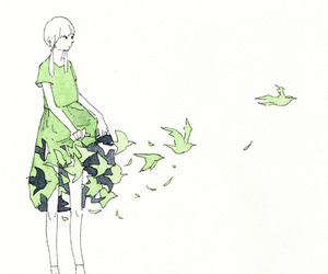 birds and girl image