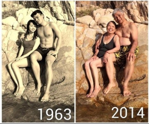couple, kiss, and old image