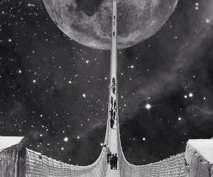 moon, bridge, and stars image