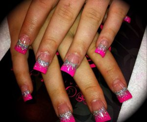 nails, pink tips, and pretty image