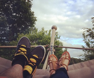couple, summer, and hammock image