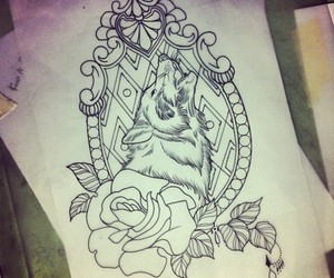 tattoo, wolf, and drawing image