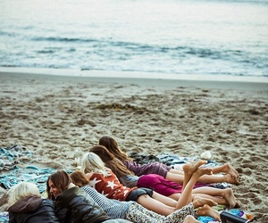 girl, beach, and friends image
