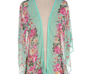 mint green, floral cardigan, and floral kimono image