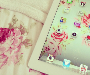 ipad, flowers, and pink image