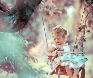 girl, baby, and swing image