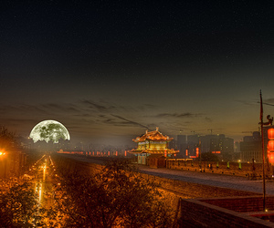 moon and town image