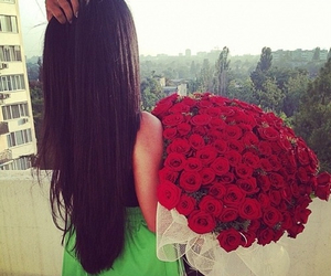 rose, girl, and hair image