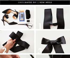 diy, black, and bow heels image