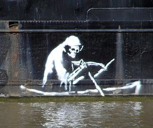 BANKSY, death, and on boat image