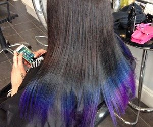blue hair, cool, and dip dye image
