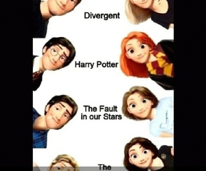 harry potter, divergent, and disney image