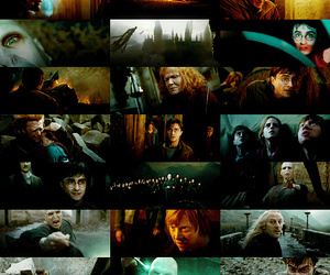 the deathly hallows, battle of hogwarts, and deathly hallows image