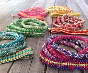 accessories, bracelets, and pink image