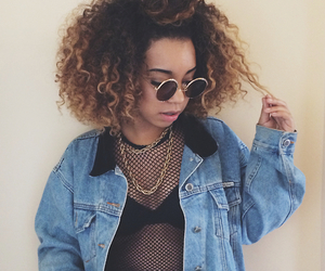 curly hair and jean jacket image
