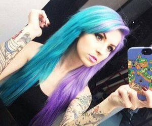 hair, tattoo, and blue image