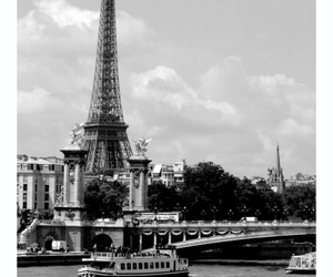 art, black and white, and eiffel tower image