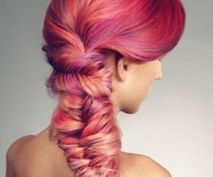 hair, pink, and trenza image