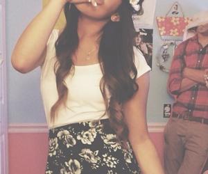 brunette, eyes, and floral image