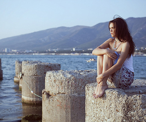 alone, girl, and sea image