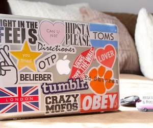 british, girly, and laptop image
