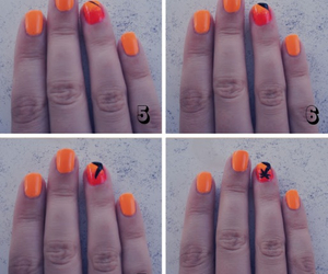 nail art, orange, and palm three image