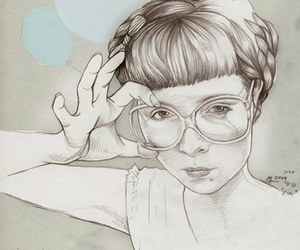drawing, glasses, and hand image