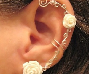 earrings, rose, and flowers image